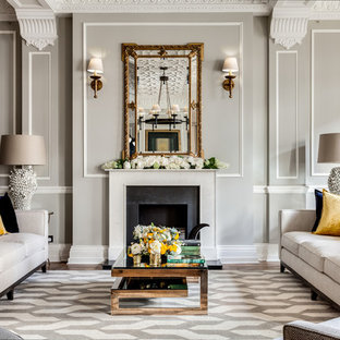 Inspiration For A Timeless Formal Living Room Remodel In London With Gray  Walls And A Standard