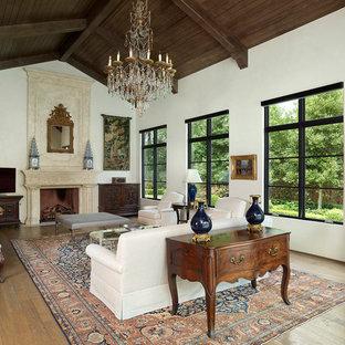 Imagen de salón mediterráneo con paredes blancas, suelo de madera en tonos medios, chimenea tradicional y televisor en una esquina