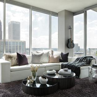 Example of a trendy formal light wood floor living room design in Atlanta