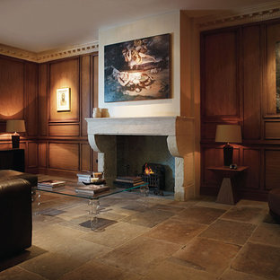 Living room - traditional limestone floor living room idea in Other