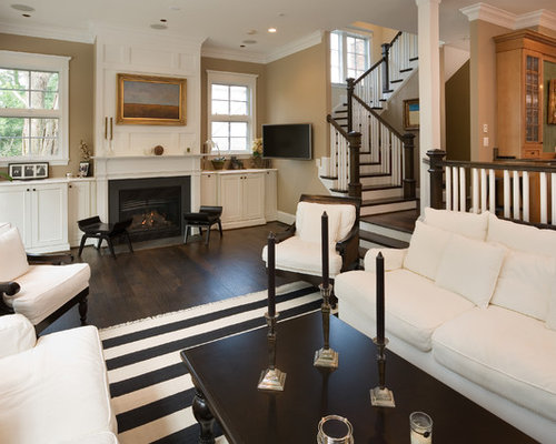 Elegant Dark Wood Floor Living Room Photo In DC Metro With A Wall Mounted Tv