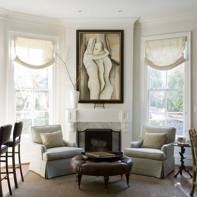 Living room - traditional living room idea in Baltimore with white walls