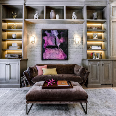 Inspiration for a mid-sized transitional formal and open concept beige floor and light wood floor living room remodel in DC Metro with gray walls, no fireplace and no tv