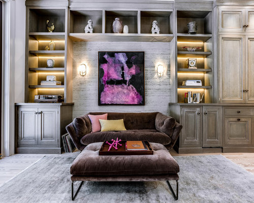 inspiration for a mid sized transitional formal and open concept beige floor and light wood - Distressed Living Room Ideas
