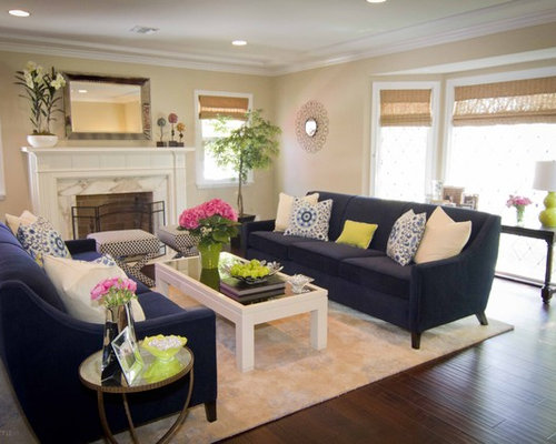 Navy sofa ideas pictures remodel and decor for Living room decor ideas houzz