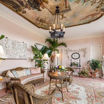 Living room - traditional formal living room idea in New York with pink walls