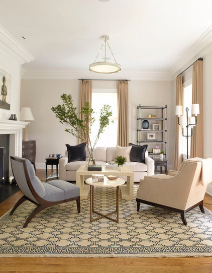 Transitional Living Room by S. B. Long Interiors