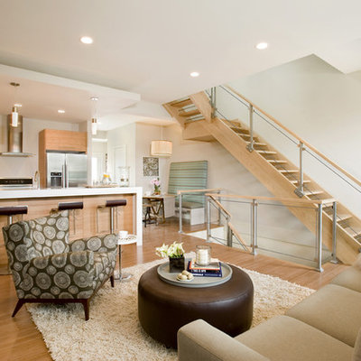 Trendy open concept living room photo in Boston with white walls