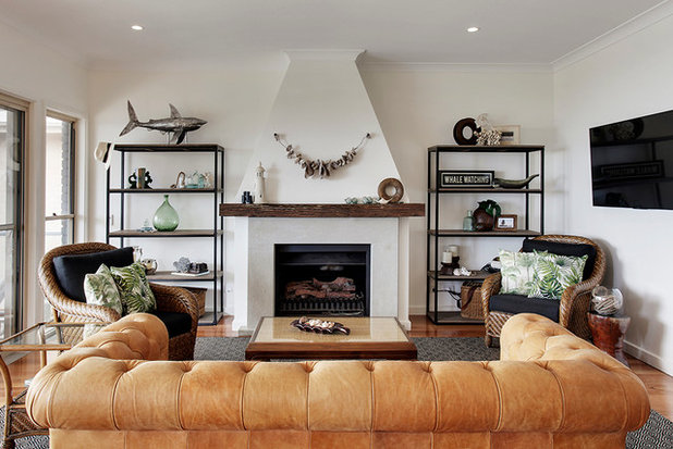 Beach Style Living Room by Live by the Sea Photography