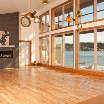 Example of a mid-sized asian living room design in Seattle