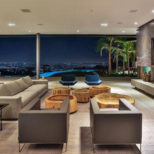 Esempio di un grande soggiorno contemporaneo aperto con pavimento in cemento, camino lineare Ribbon, cornice del camino in cemento, TV a parete e pavimento grigio