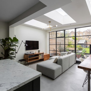 Design ideas for a medium sized contemporary open plan living room in London with concrete flooring, grey floors, white walls and a wall mounted tv.