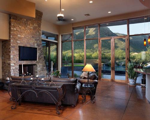 Traditional living room design ideas renovations photos for Concrete floor living room ideas