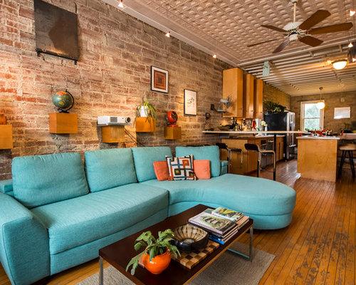 wohnzimmer im loft style mit gelber wandfarbe ideen design bilder beispiele. Black Bedroom Furniture Sets. Home Design Ideas