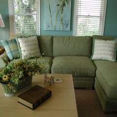 tropical living room by Gina Fitzsimmons ASID
