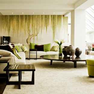 Example of a large trendy living room design in New York with no fireplace and no tv