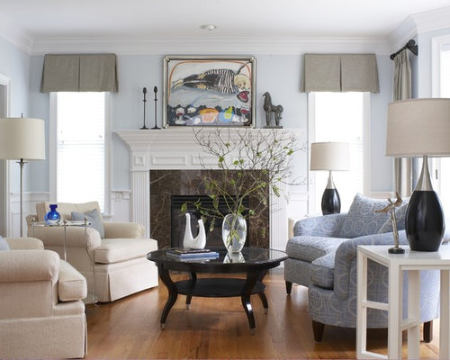 Exceptional Elegant Living Room Photo In Bridgeport With Blue Walls And A Standard  Fireplace Part 8