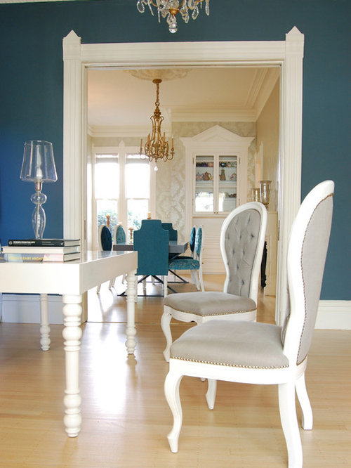Mid Sized Eclectic Light Wood Floor Living Room Photo In San Francisco With  Blue Walls Part 36
