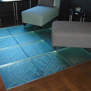 Diseño de salón abierto, minimalista, pequeño