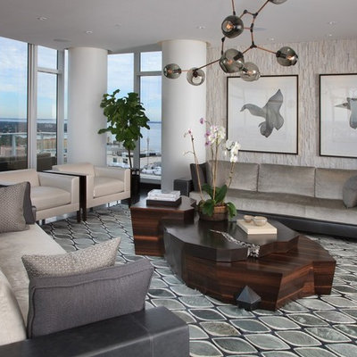 Living room - contemporary formal living room idea in Tampa with beige walls