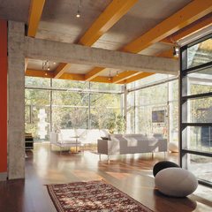 modern living room by Thomas Roszak Architecture, LLC