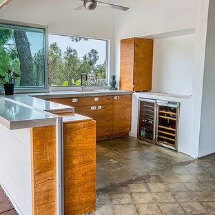 ロサンゼルスの中サイズのミッドセンチュリースタイルのおしゃれなリビング (白い壁、コンクリートの床、標準型暖炉、漆喰の暖炉まわり、テレビなし、茶色い床) の写真