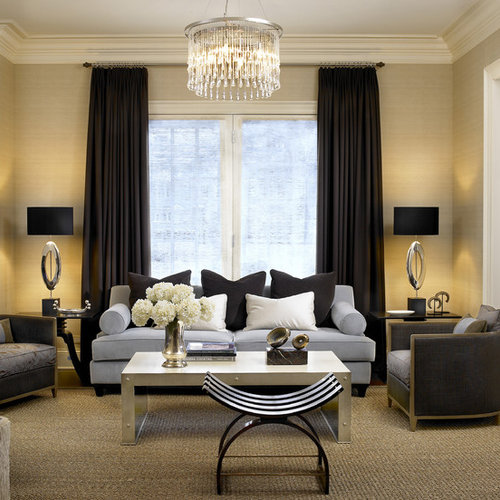 This Is An Example Of A Contemporary Formal Living Room In Chicago With  Beige Walls.