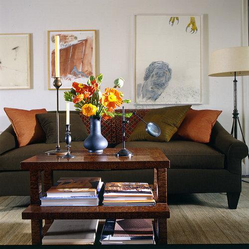 Contemporary Living Room Design Houzz: Olive Green Sofa