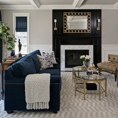 Example of a large transitional formal and open concept dark wood floor and brown floor living room design in Chicago with beige walls, a standard fireplace and a stone fireplace