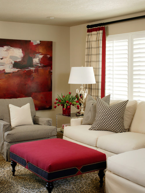 Example Of A Mid Sized Trendy Open Concept Carpeted Living Room Design In  Little Rock