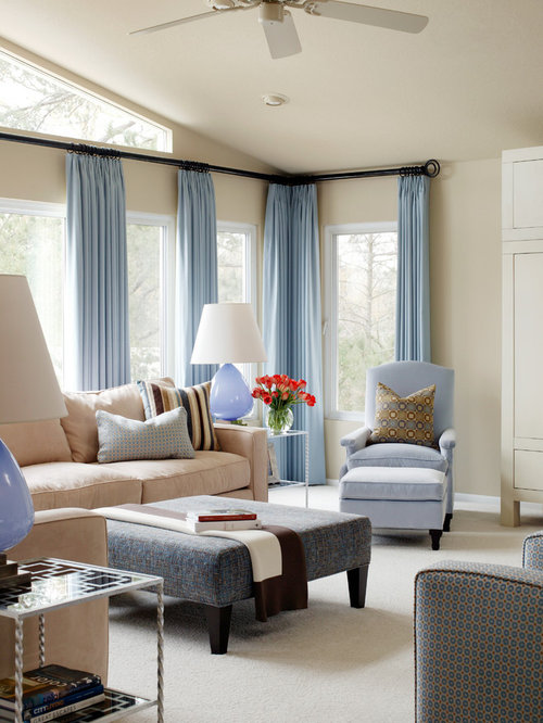 Mid Sized Transitional Formal And Enclosed Carpeted Living Room Idea In Little Rock With Beige