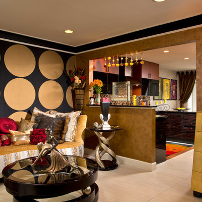 Inspiration for a mid-sized eclectic enclosed living room remodel in Boston with multicolored walls