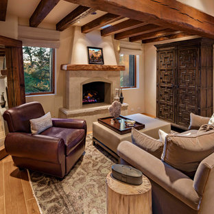 75 Beautiful Southwestern Living Room With A Tile Fireplace ...