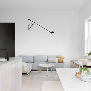 Ispirazione per un soggiorno scandinavo aperto con pareti bianche e parquet chiaro