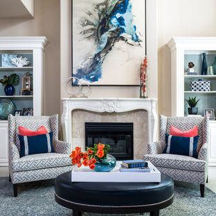 Inspiration for a large transitional formal and open concept medium tone wood floor living room remodel in Dallas with beige walls, a ribbon fireplace and a tile fireplace