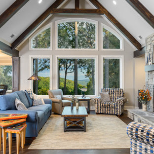 Example of a mountain style living room design in Other