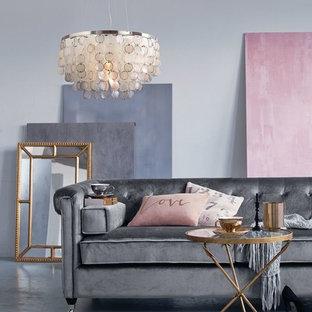 Modelo de salón actual con paredes grises y suelo de linóleo
