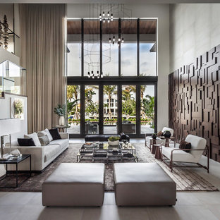 Inspiration for a huge contemporary open concept and formal porcelain floor and gray floor living room remodel in Miami with no fireplace and no tv