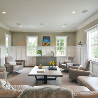 Example Of A Transitional Formal Living Room Design In Charleston With  Beige Walls And No Tv