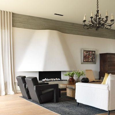Example of a large trendy medium tone wood floor living room design in Sydney with white walls and a ribbon fireplace