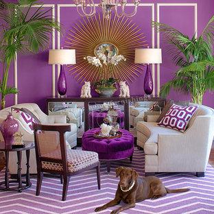 Modelo de salón para visitas cerrado, contemporáneo, de tamaño medio, con paredes púrpuras