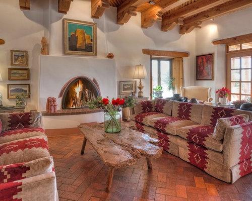 Best southwestern living room with brick floors design for Southwestern flooring