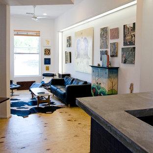 Esempio di un piccolo soggiorno contemporaneo aperto con libreria, pareti bianche, pavimento in compensato e TV autoportante