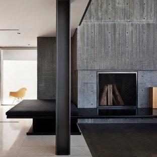 Ispirazione per un soggiorno moderno con cornice del camino in cemento