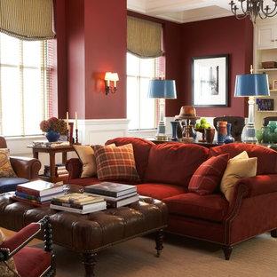 Foto di un soggiorno tradizionale con pareti rosse