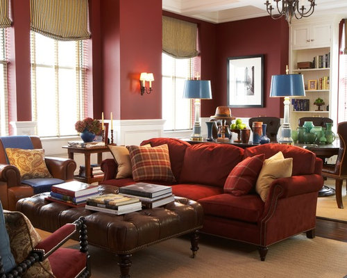 Burgundy Sofa Home Design Ideas, Pictures, Remodel and Decor