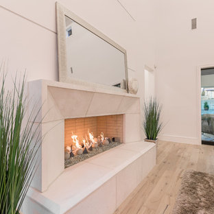 ダラスの中サイズのトランジショナルスタイルのおしゃれなLDK (ベージュの壁、無垢フローリング、標準型暖炉、漆喰の暖炉まわり、壁掛け型テレビ、マルチカラーの床) の写真