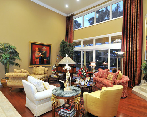 Yellow walls with curtains houzz for B q living room curtains