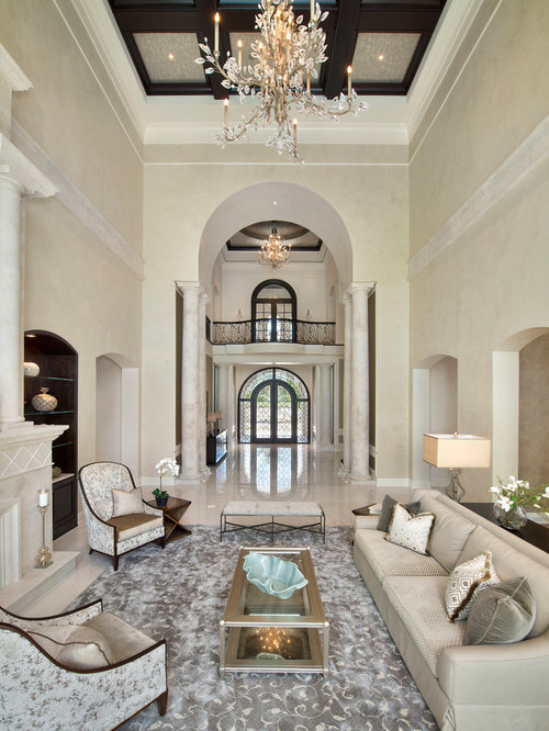 Huge Tuscan Formal And Open Concept Marble Floor Living Room Photo In Miami With Beige Walls