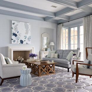 Light blue living room houzz - Grey living room walls ...